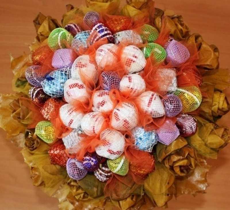 Букет из конфет своими руками: пошаговый мастер-класс по созданию букета из конфет. Обзоры оригинальных идей композиций с фото готовых работ
