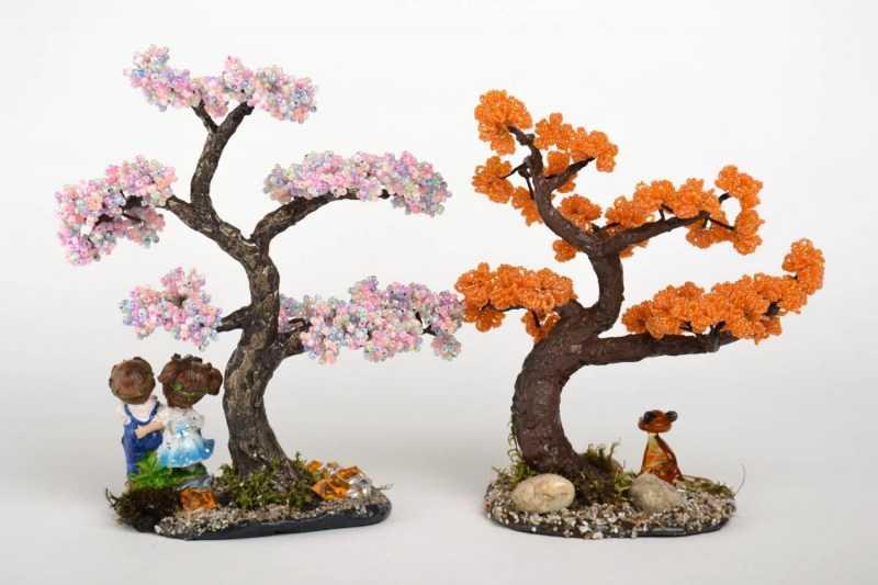 Деревья из бисера: красивые и необычные изделия из бисера своими руками. Подробная схема плетения деревьев + фото-примеры  готовых работ