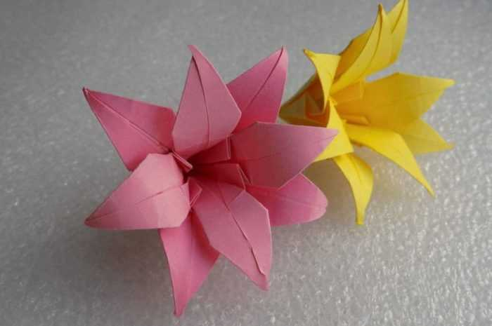 Лилия из бумаги — ТОП-100 фото лучших вариантов изделий. Мастер-класс с пошаговыми схемами и чертежами для создания лилии оригами своими руками