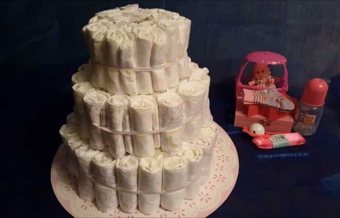 Торт из памперсов для девочки — 180 фото идей оригинальных тортов из памперсов + инструкция создания своими руками с примерами готовых изделий